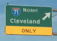 Norht sign to I-71 on Route 82 in Northeast Ohio