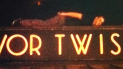 Some idiot planking on the Olivor Twist sign in downtown Willoughby, Ohio