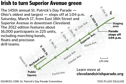 Cleveland St. Patrick's Day 2012 Map